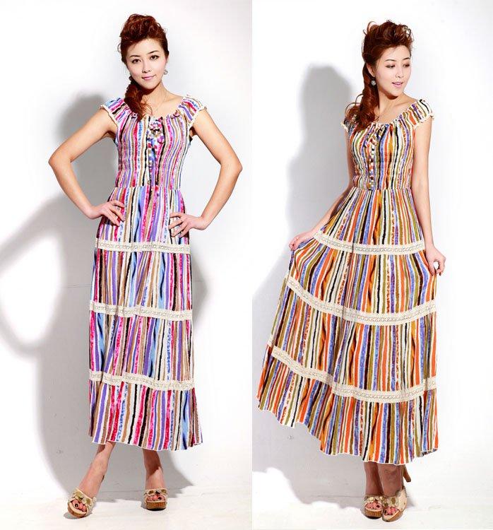 Free-Shipping-Women-s-Bohemian-Style-Long-Dress-Stripe-Cotton-Beach-Dresses-B5613